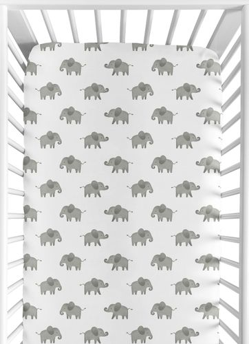 Grey and White Baby or Toddler Fitted Crib Sheet for Mint Watercolor Elephant Safari Collection by Sweet Jojo Designs - Click to enlarge