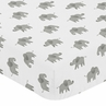 Grey and White Baby or Toddler Fitted Crib Sheet for Mint Watercolor Elephant Safari Collection by Sweet Jojo Designs