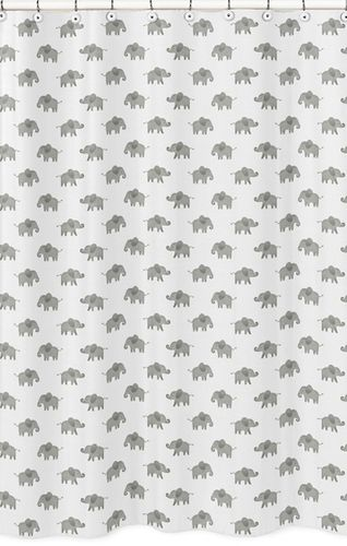 Grey and White Bathroom Fabric Bath Shower Curtain for Watercolor Elephant Safari Collection by Sweet Jojo Designs - Click to enlarge
