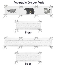 Grey and White Boho Animal Unisex Boy or Girl Baby Nursery Crib Bumper Pad for Gray Woodland Forest Friends Collection by Sweet Jojo Designs - Deer Fox Bear