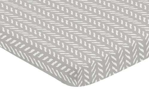Grey and White Boho Herringbone Arrow Baby Unisex Boy or Girl Baby Nursery Fitted Mini Portable Crib Sheet for Gray Woodland Forest Friends Collection by Sweet Jojo Designs For Mini Crib or Pack and Play ONLY - Click to enlarge