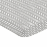 Grey and White Boho Herringbone Arrow Baby Unisex Boy or Girl Baby Nursery Fitted Mini Portable Crib Sheet for Gray Woodland Forest Friends Collection by Sweet Jojo Designs For Mini Crib or Pack and Play ONLY