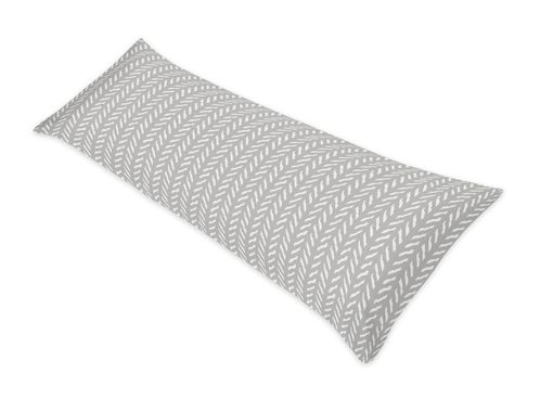Grey and White Boho Herringbone Arrow Body Pillow Case Cover for Gray Woodland Forest Friends Collection by Sweet Jojo Designs (Pillow Not Included) - Click to enlarge