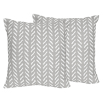 Grey and White Boho Herringbone Arrow Decorative Accent Throw Pillows for Gray Woodland Forest Friends Collection by Sweet Jojo Designs - Set of 2