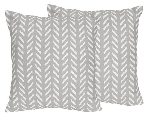 Grey and White Boho Herringbone Arrow Decorative Accent Throw Pillows for Gray Woodland Forest Friends Collection by Sweet Jojo Designs - Set of 2 - Click to enlarge