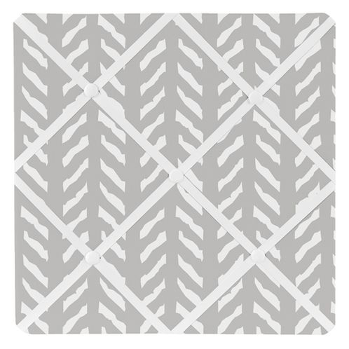 Grey and White Boho Herringbone Arrow Fabric Memory Memo Photo Bulletin Board for Gray Woodland Forest Friends Collection by Sweet Jojo Designs - Click to enlarge
