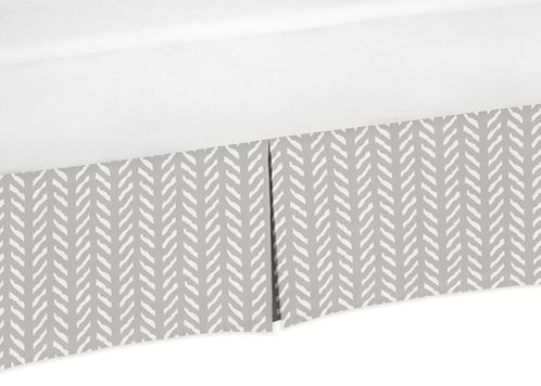 Grey and White Boho Herringbone Arrow Pleated Queen Bed Skirt Dust Ruffle for Gray Woodland Forest Friends Collection by Sweet Jojo Designs - Click to enlarge