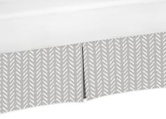Grey and White Boho Herringbone Arrow Pleated Queen Bed Skirt Dust Ruffle for Gray Woodland Forest Friends Collection by Sweet Jojo Designs