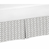 Grey and White Boho Herringbone Arrow Pleated Toddler Bed Skirt Dust Ruffle for Gray Woodland Forest Friends Collection by Sweet Jojo Designs