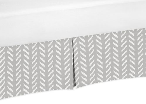 Grey and White Boho Herringbone Arrow Pleated Toddler Bed Skirt Dust Ruffle for Gray Woodland Forest Friends Collection by Sweet Jojo Designs - Click to enlarge