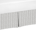 Grey and White Boho Herringbone Arrow Pleated Twin Bed Skirt Dust Ruffle for Gray Woodland Forest Friends Collection by Sweet Jojo Designs