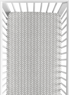 Grey and White Boho Herringbone Arrow Unisex Boy or Girl Baby or Toddler Nursery Fitted Crib Sheet for Gray Woodland Forest Friends Collection by Sweet Jojo Designs
