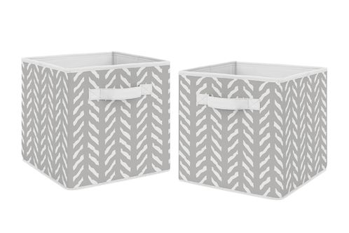 Grey and White Boho Herringbone Arrow Unisex Boy or Girl Foldable Fabric Storage Cube Bins Boxes Organizer Toys Kids Baby Childrens for Gray Woodland Forest Friends Collection by Sweet Jojo Designs - Click to enlarge