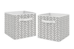 Grey and White Boho Herringbone Arrow Unisex Boy or Girl Foldable Fabric Storage Cube Bins Boxes Organizer Toys Kids Baby Childrens for Gray Woodland Forest Friends Collection by Sweet Jojo Designs