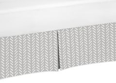 Grey and White Boho Herringbone Arrow Unisex Boy or Girl Pleated Baby Nursery Crib Bed Skirt Dust Ruffle for Gray Woodland Forest Friends Collection by Sweet Jojo Designs