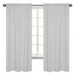 Grey and White Boho Herringbone Arrow Window Treatment Panels Curtains for Gray Woodland Forest Friends Collection by Sweet Jojo Designs - Set of 2