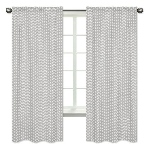 Grey and White Boho Herringbone Arrow Window Treatment Panels Curtains for Gray Woodland Forest Friends Collection by Sweet Jojo Designs - Set of 2 - Click to enlarge
