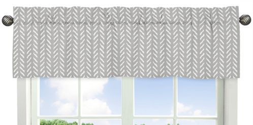Grey and White Boho Herringbone Arrow Window Treatment Valance for Gray Woodland Forest Friends Collection by Sweet Jojo Designs - Click to enlarge