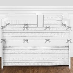 Grey and White Boho Tribal Baby Boy or Girl Gender Neutral Nursery Crib Bedding Set with Bumper by Sweet Jojo Designs - 9 pieces