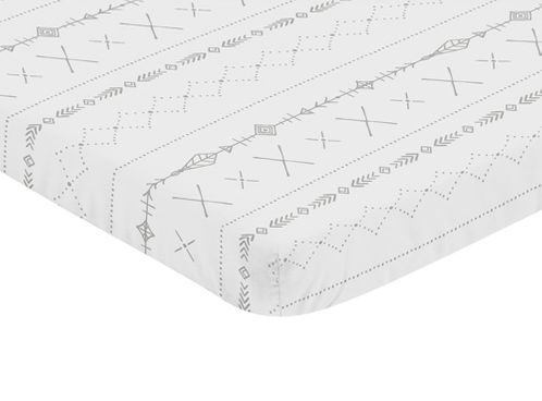 Grey and White Boho Tribal Baby Unisex Boy or Girl Baby Nursery Fitted Mini Portable Crib Sheet for Gray Woodland Forest Friends Collection by Sweet Jojo Designs For Mini Crib or Pack and Play ONLY - Click to enlarge