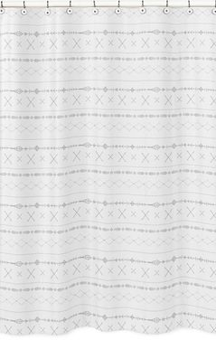 Grey and White Boho Tribal Bathroom Fabric Bath Shower Curtain for Gray Woodland Forest Friends Collection by Sweet Jojo Designs