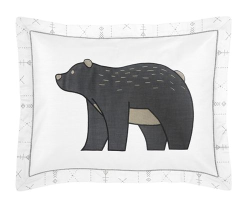 Grey and White Boho Tribal Bear Standard Pillow Sham for Gray Woodland Forest Friends Collection by Sweet Jojo Designs - Click to enlarge