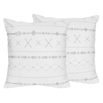 Grey and White Boho Tribal Decorative Accent Throw Pillows for Gray Woodland Forest Friends Collection by Sweet Jojo Designs - Set of 2
