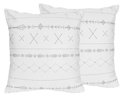 Grey and White Boho Tribal Decorative Accent Throw Pillows for Gray Woodland Forest Friends Collection by Sweet Jojo Designs - Set of 2 - Click to enlarge