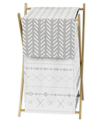 Grey and White Boho Tribal Herringbone Arrow Baby Kid Clothes Laundry Hamper for Gray Woodland Forest Friends Collection by Sweet Jojo Designs