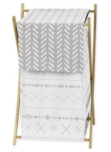 Grey and White Boho Tribal Herringbone Arrow Baby Kid Clothes Laundry Hamper for Gray Woodland Forest Friends Collection by Sweet Jojo Designs - Click to enlarge