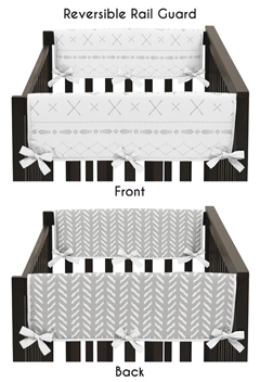 Grey and White Boho Tribal Herringbone Arrow Baby Unisex Boy or Girl Side Crib Rail Guards Baby Teething Cover Protector Wrap for Gray Woodland Forest Friends Collection by Sweet Jojo Designs - Set of 2