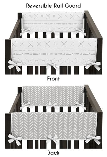 Grey and White Boho Tribal Herringbone Arrow Baby Unisex Boy or Girl Side Crib Rail Guards Baby Teething Cover Protector Wrap for Gray Woodland Forest Friends Collection by Sweet Jojo Designs - Set of 2 - Click to enlarge