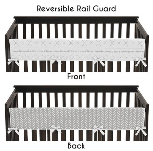Grey and White Boho Tribal Herringbone Arrow Unisex Boy or Girl Baby Long Front Crib Rail Guard Teething Cover Protector Wrap for Gray Woodland Forest Friends Collection by Sweet Jojo Designs - Click to enlarge