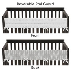 Grey and White Boho Tribal Herringbone Arrow Unisex Boy or Girl Baby Long Front Crib Rail Guard Teething Cover Protector Wrap for Gray Woodland Forest Friends Collection by Sweet Jojo Designs