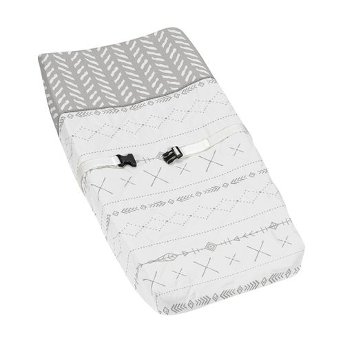 Grey and White Boho Tribal Herringbone Arrow Unisex Boy or Girl Baby Nursery Changing Pad Cover for Gray Woodland Forest Friends Collection by Sweet Jojo Designs - Click to enlarge
