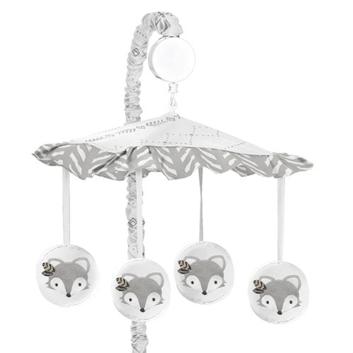 Grey and White Boho Tribal Herringbone Arrow Unisex Boy or Girl Baby Nursery Musical Crib Mobile for Gray Woodland Forest Friends Collection by Sweet Jojo Designs - Click to enlarge