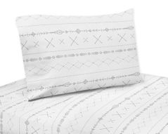 Grey and White Boho Tribal Queen Sheet Set for Gray Woodland Forest Friends Collection by Sweet Jojo Designs - 4 piece set