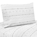 Grey and White Boho Tribal Twin Sheet Set for Gray Woodland Forest Friends Collection by Sweet Jojo Designs - 3 piece set