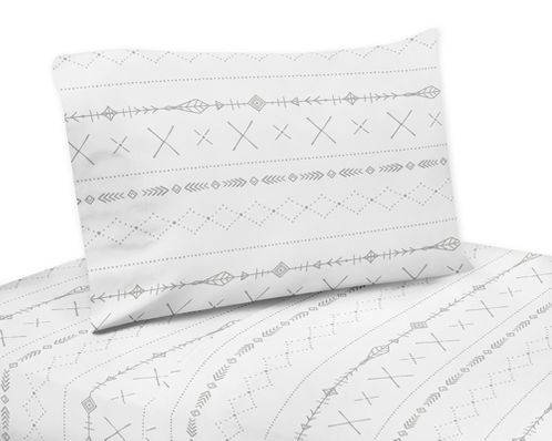 Grey and White Boho Tribal Twin Sheet Set for Gray Woodland Forest Friends Collection by Sweet Jojo Designs - 3 piece set - Click to enlarge
