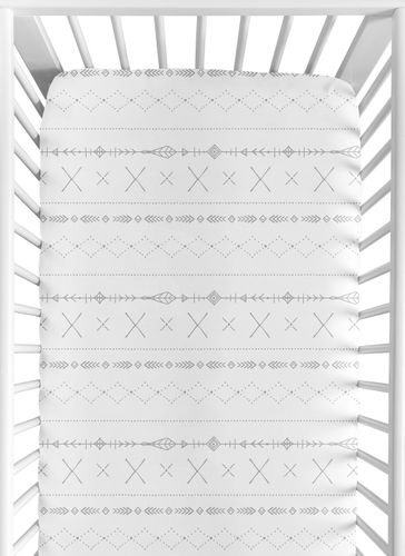 Grey and White Boho Tribal Unisex Boy or Girl Baby or Toddler Nursery Fitted Crib Sheet for Gray Woodland Forest Friends Collection by Sweet Jojo Designs - Click to enlarge