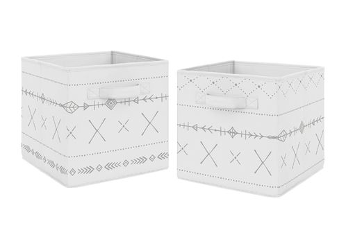 Grey and White Boho Tribal Unisex Boy or Girl Foldable Fabric Storage Cube Bins Boxes Organizer Toys Kids Baby Childrens for Gray Woodland Forest Friends Collection by Sweet Jojo Designs - Click to enlarge