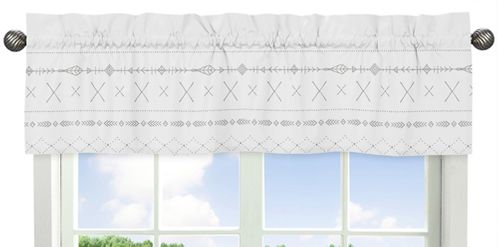 Grey and White Boho Tribal Window Treatment Valance for Gray Woodland Forest Friends Collection by Sweet Jojo Designs - Click to enlarge