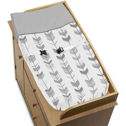 Grey and White Changing Pad Cover for Woodland Arrow Collection by Sweet Jojo Designs - Click to enlarge