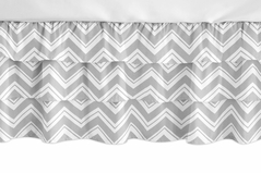 Grey and White Chevron Girl Ruffled Tiered Baby Crib Bed Skirt Dust Ruffle for Zig Zag Collection by Sweet Jojo Designs