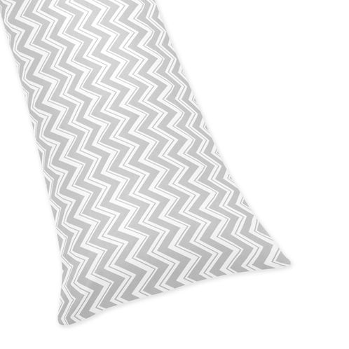 Grey and White Chevron Zig Zag Full Length Double Zippered Body Pillow Case Cover by Sweet Jojo Designs - Click to enlarge