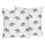 Grey and White Decorative Accent Throw Pillows for Blush Pink Watercolor Elephant Safari Collection by Sweet Jojo Designs - Set of 2
