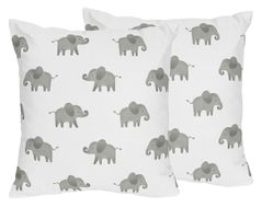 Grey and White Decorative Accent Throw Pillows for Mint Watercolor Elephant Safari Collection by Sweet Jojo Designs - Set of 2