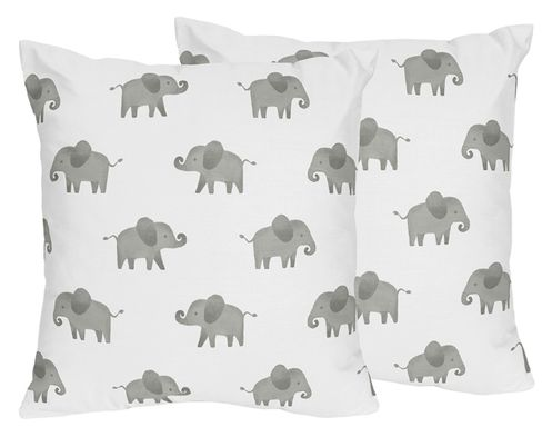 Grey and White Decorative Accent Throw Pillows for Mint Watercolor Elephant Safari Collection by Sweet Jojo Designs - Set of 2 - Click to enlarge