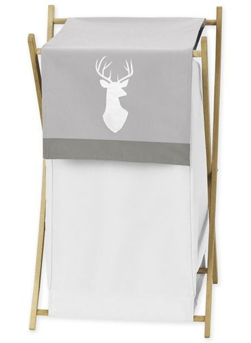 Grey and White Deer Baby Kid Clothes Laundry Hamper for Woodsy Collection by Sweet Jojo Designs - Click to enlarge