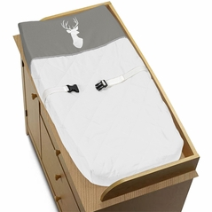 Grey and White Deer Changing Pad Cover for Woodsy Collection by Sweet Jojo Designs